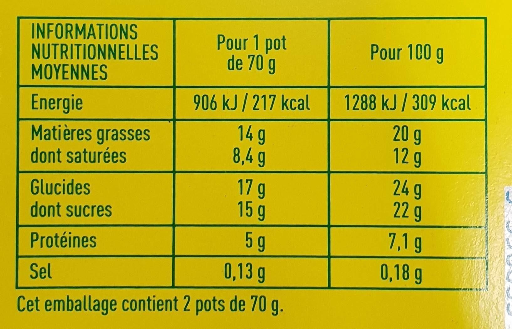 Mousse au chocolat pour beurre de cacao - Informations nutritionnelles - fr
