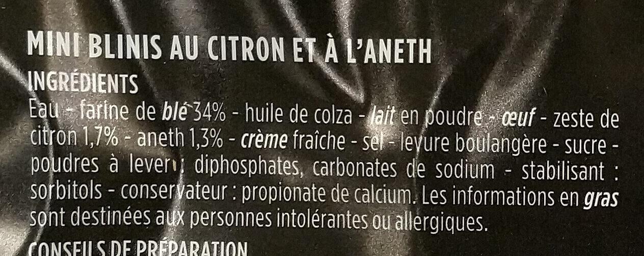 16 minis blinis citron aneth - Ingrédients - fr