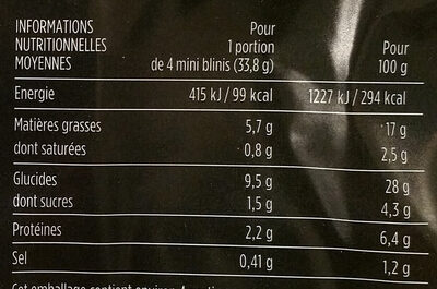 16 minis blinis citron aneth - Informations nutritionnelles - fr