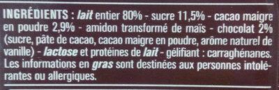 Crème dessert Saveur Chocolat - 成分