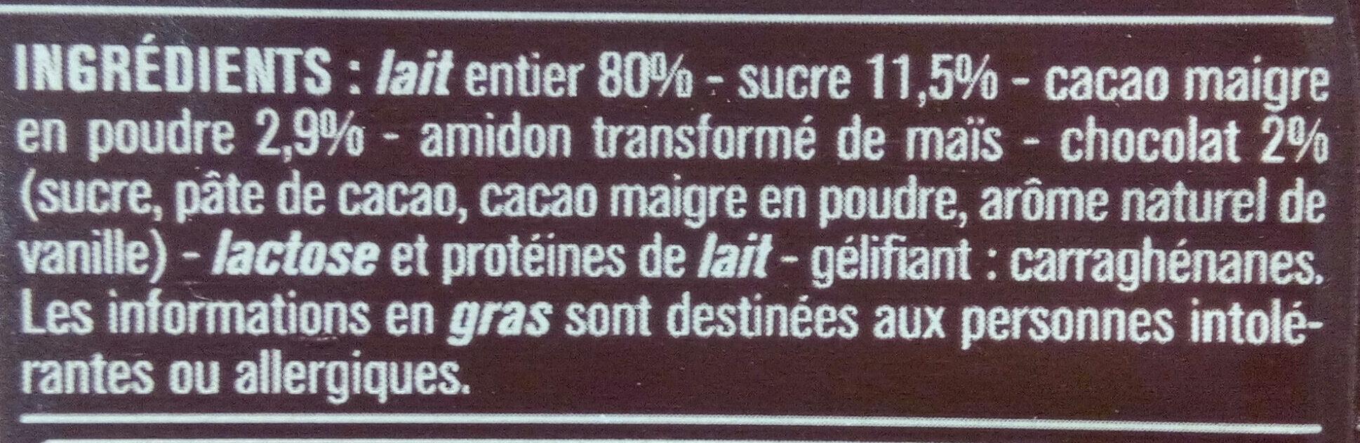 Crème dessert Saveur Chocolat - 成分 - fr