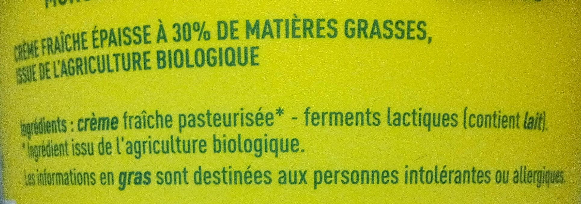 Creme Fraiche Bio - Ingredients - fr