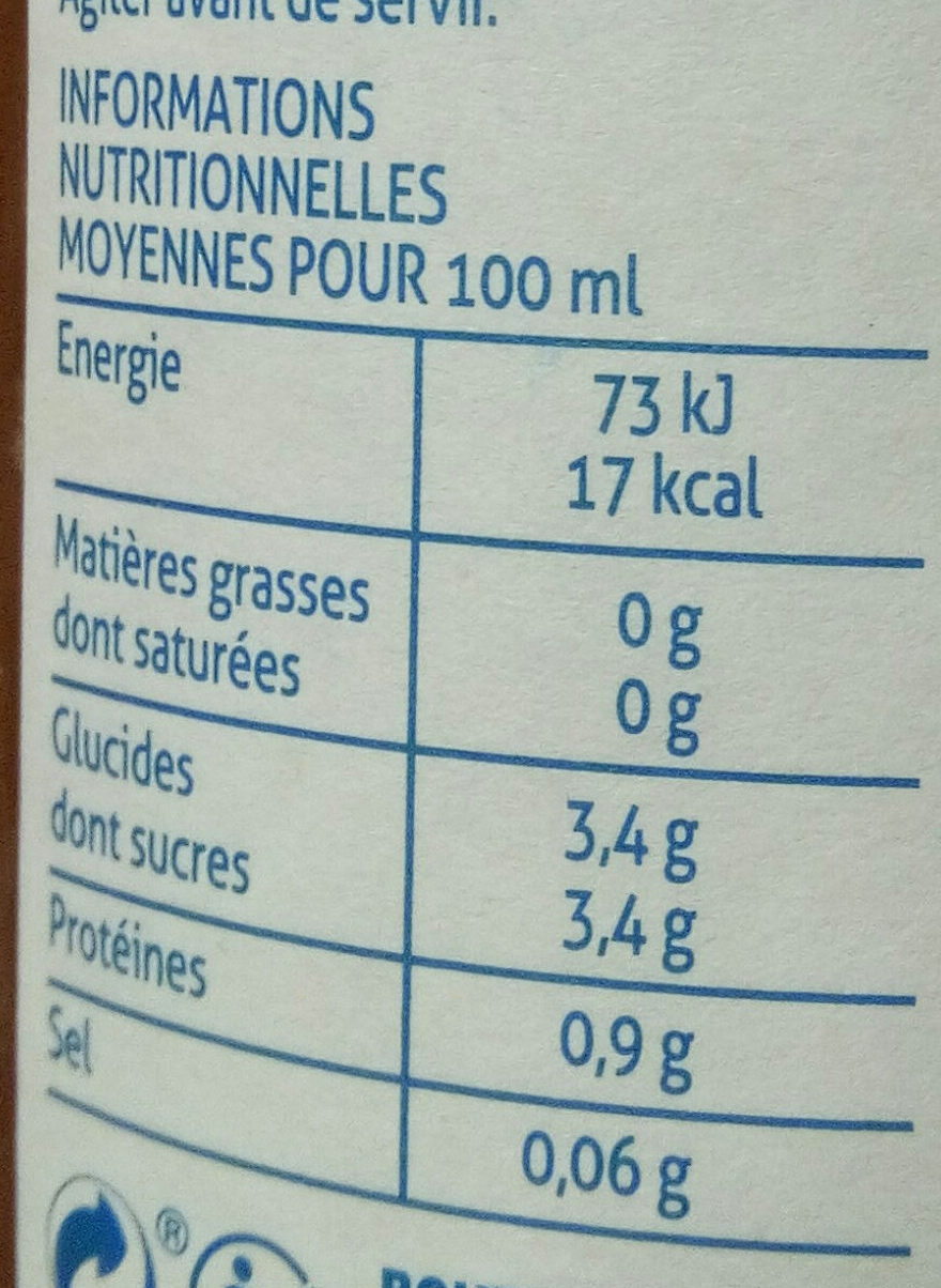 Jus de tomates de marmande - Nutrition facts