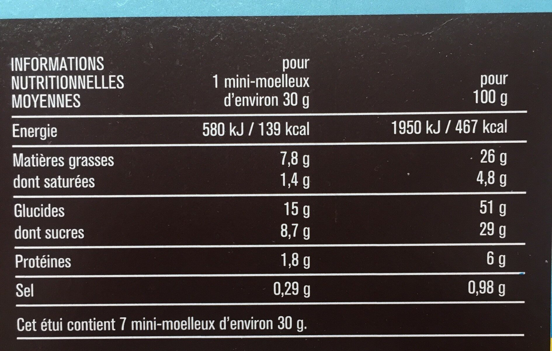 Mini gateaux moelleux aux pépites de chocolat - Informations nutritionnelles - fr