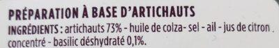 Tartinade d'artichauts - Ingrediënten - fr