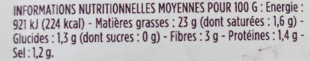 Tartinade d'artichauts - Voedingswaarden - fr