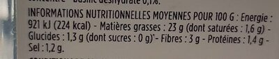 Tartinade d'artichauts - Nutrition facts - fr