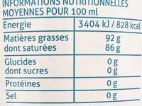 Huile vierge de noix de coco - Informations nutritionnelles - fr