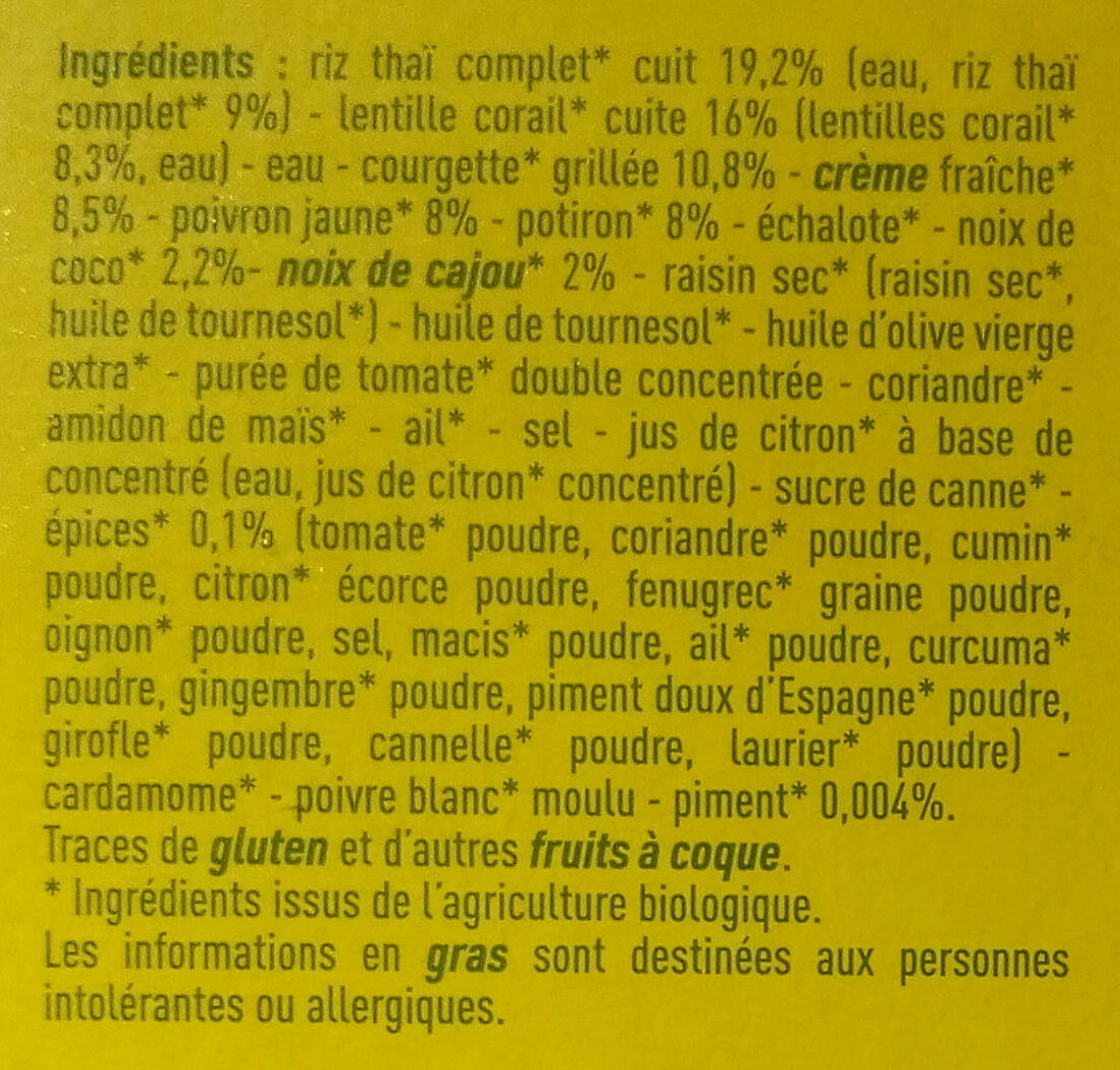 Riz Thaï, lentilles corail, petits légumes et sauces tandoori - Inhaltsstoffe