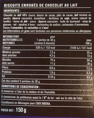 Batonnets enrobés Chocolat Lait - Informations nutritionnelles - fr