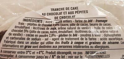 Le cake chocolat - Ingrédients - fr