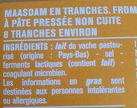 Maasdam 8 tranchettes - Ingrediënten - fr