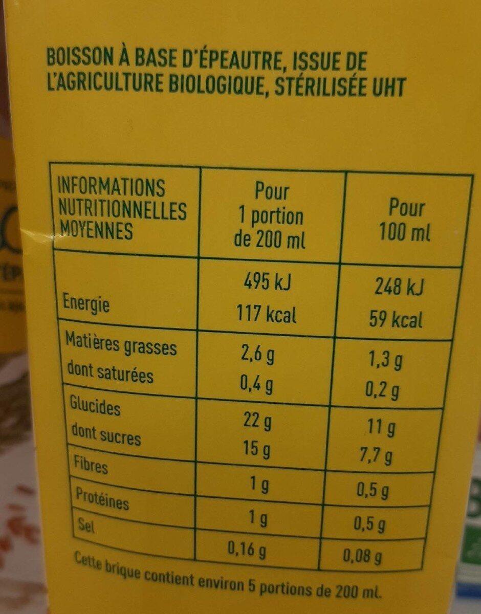 Boisson épeautre - Informations nutritionnelles - fr
