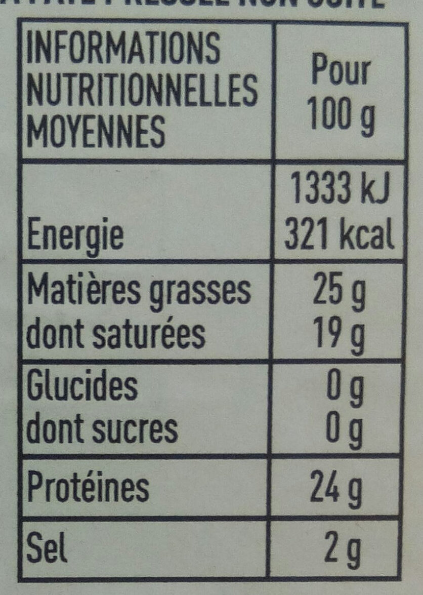 Raclette - Nutrition facts