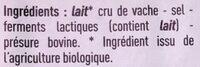Bio Comté - Ingrédients - fr