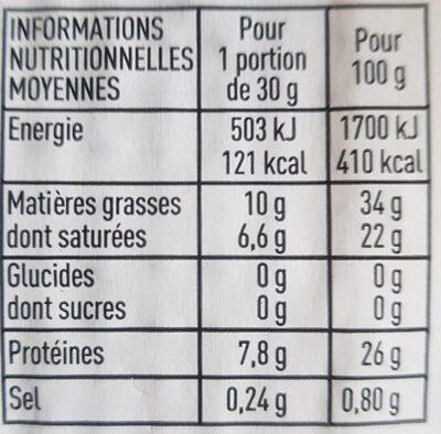 Bio Comté - Informations nutritionnelles - fr