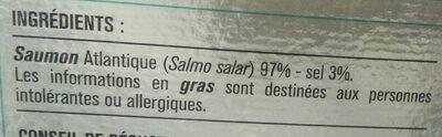 Saumon fumé élevé en Norvège - Ingredients - fr