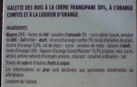 Galette des rois frangipane amande et orange confite - Ingredients