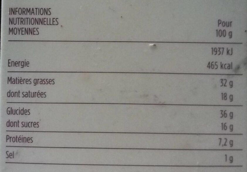 Galette des rois frangipane amande et orange confite - Nutrition facts