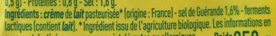 Beurre de barrate demi-sel - Ingrédients