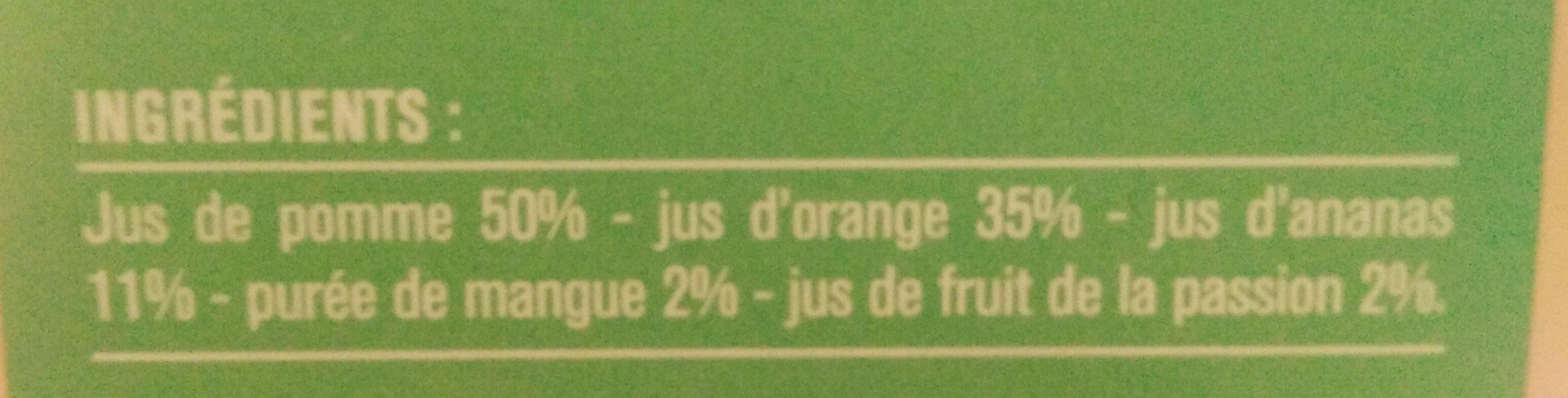 100% pur jus Ananas Mangue Passion - Ingrédients - fr