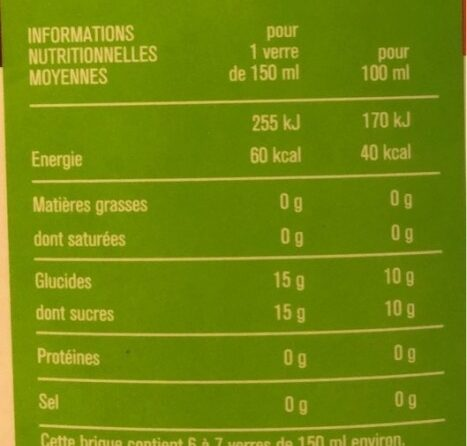 100% pur jus Ananas Mangue Passion - Informations nutritionnelles - fr