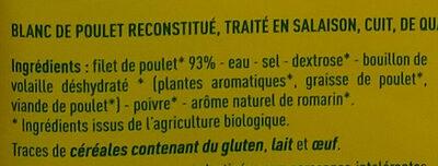 Blanc de poulet Qualité supérieure - Ingrédients - fr