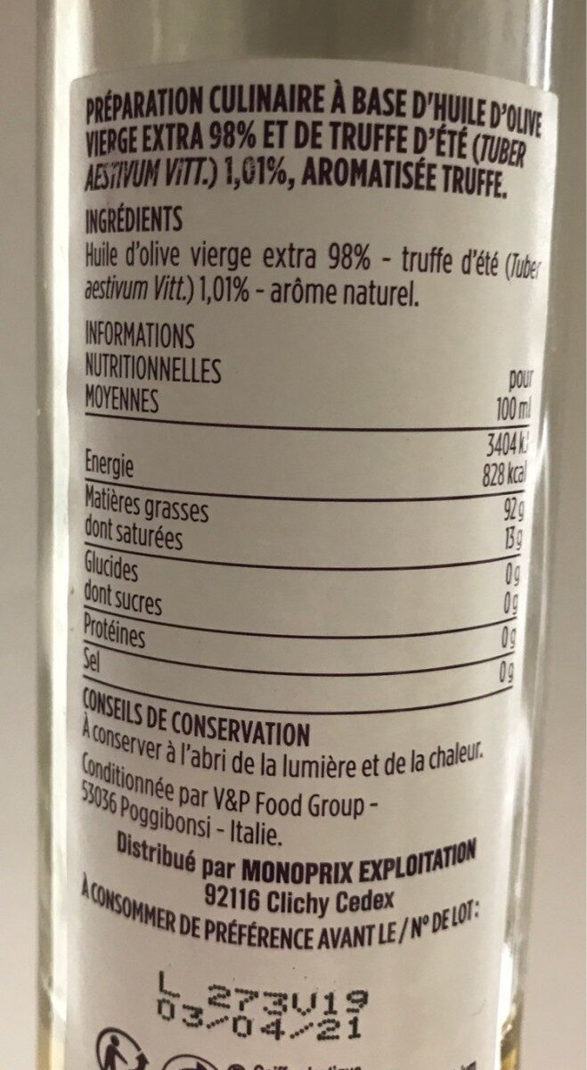 Huile d'olive vierge extra aromatisée truffe - Informations nutritionnelles - fr
