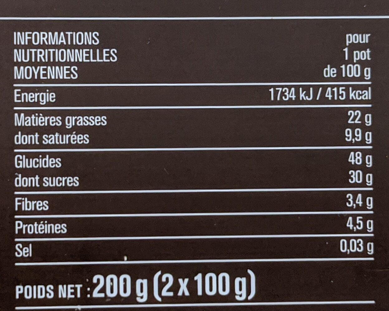 Mi-cuit végétal au chocolat noir - 营养成分 - fr