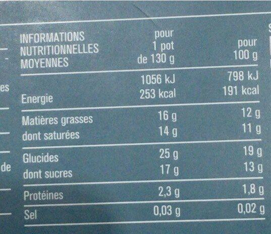 semoule au lait de coco vegan - 营养成分 - en