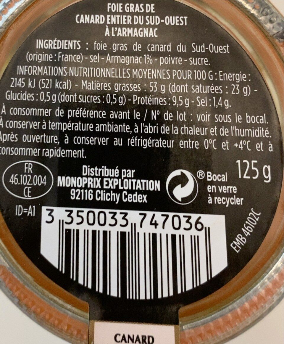 Foie gras de canard - Informations nutritionnelles - fr