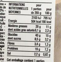 Farfalle jambon sec - Voedingswaarden - fr