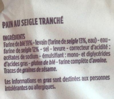 Pain au seigle tranché - Ingrediënten