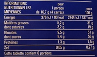 Chocolat lait extra fin - Informations nutritionnelles