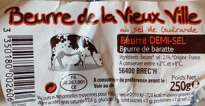 Beurre demi sel au sel de Guerande La Vieux Ville - Produit - fr