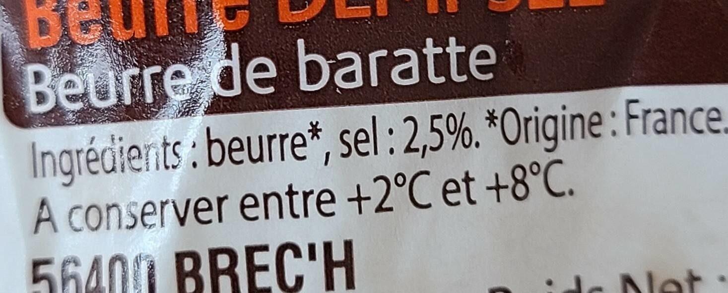 Beurre demi sel au sel de Guerande La Vieux Ville - Informations nutritionnelles - fr