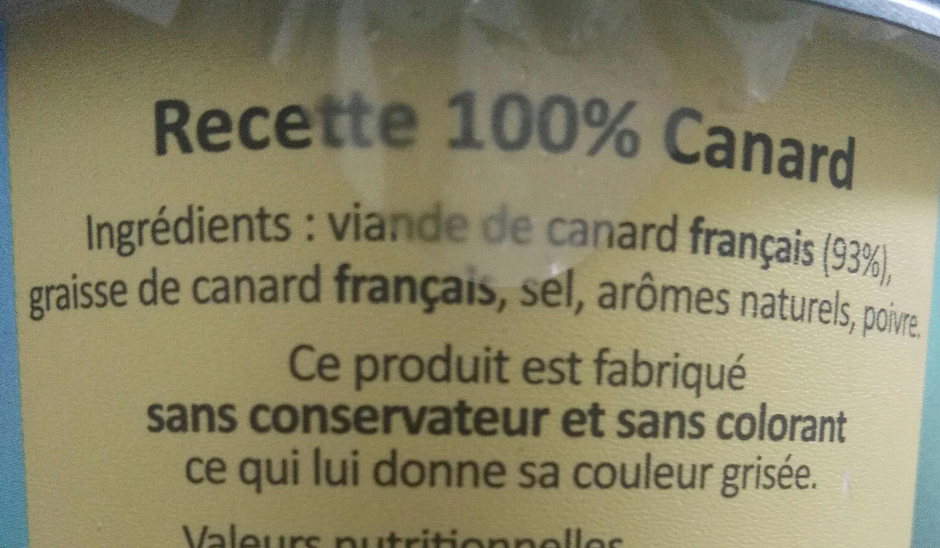 Rillettes de Canard - Ingredients