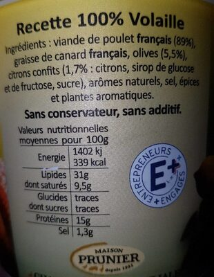 Prunier Rillettes De Poulet Aux Citrons Confits Et Olives 22 - Informations nutritionnelles
