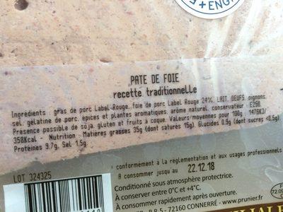 Pâté de foie de porc recette à l'ancienne - Ingredients