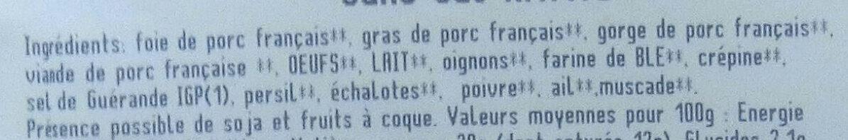 Pâté de campagne - Ingredients - fr