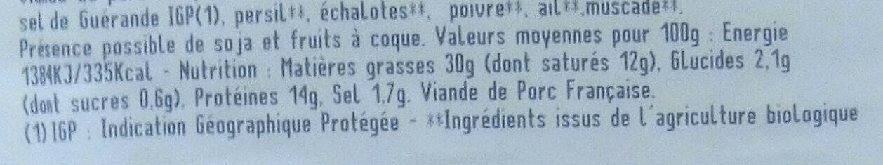 Pâté de campagne - Nutrition facts - fr