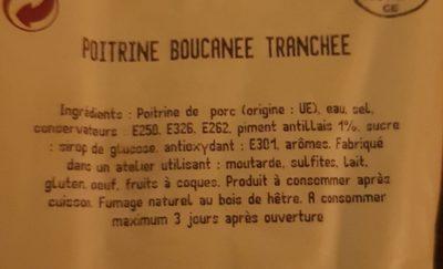 Poitrine boucanée tranchée - Ingrédients - fr