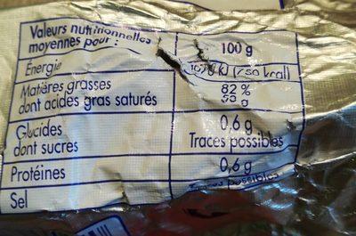 Beurre doux de Nozeroy - Nutrition facts