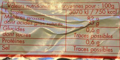 Beurre De Baratte 250g - Informations nutritionnelles