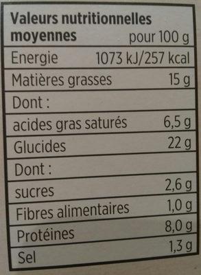 Tarte savoyarde - Voedingswaarden - fr