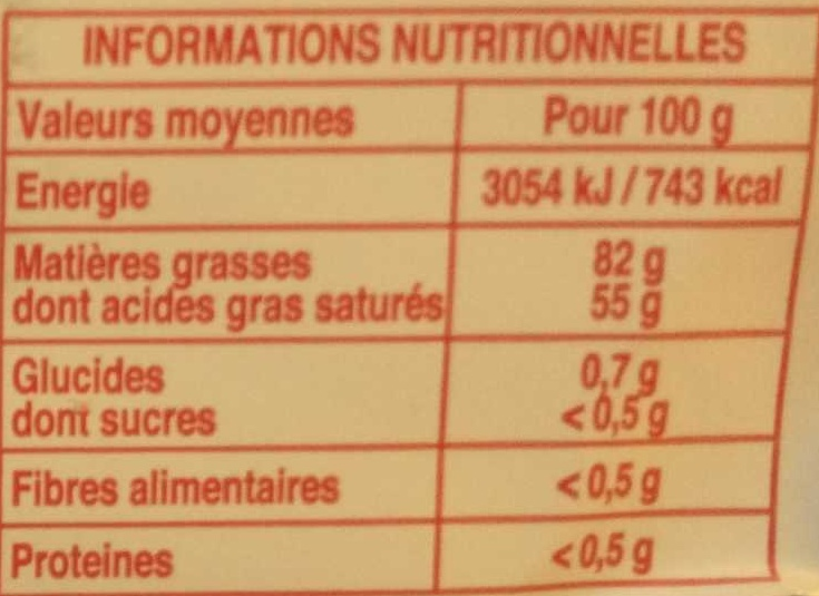 Beurre à la baratte - Nutrition facts