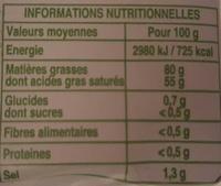 Beurre à la baratte demi sel - Nutrition facts