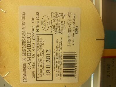 Camembert au lait pasteurisé Bio - Ingrediënten - fr