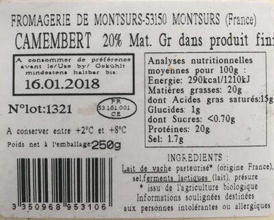 Camembert au lait pasteurisé Bio - Voedingswaarden - fr