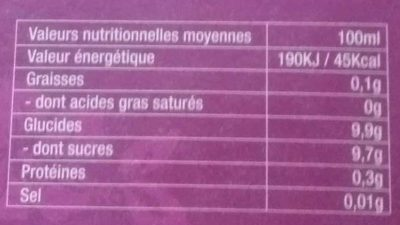 tropical - Nutrition facts - fr